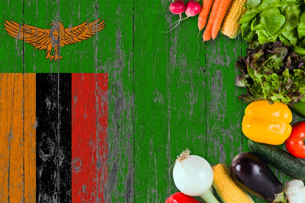 Fresh vegetables from Zambia on table