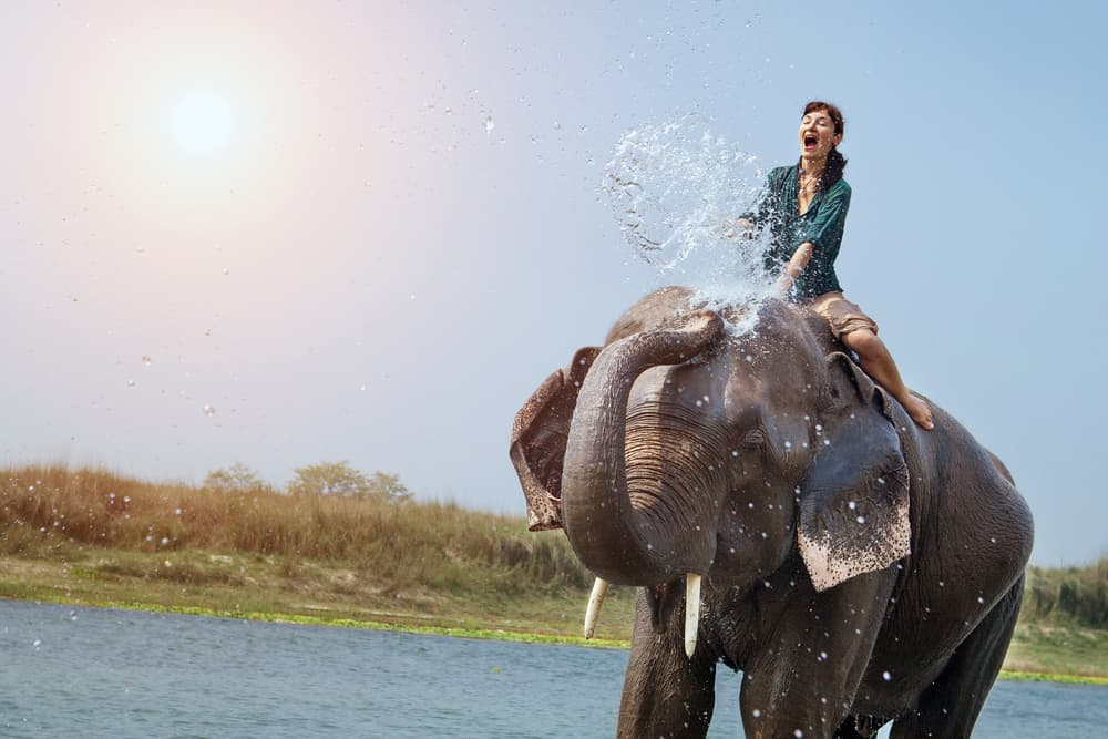 Elephant splashing a woman with Water